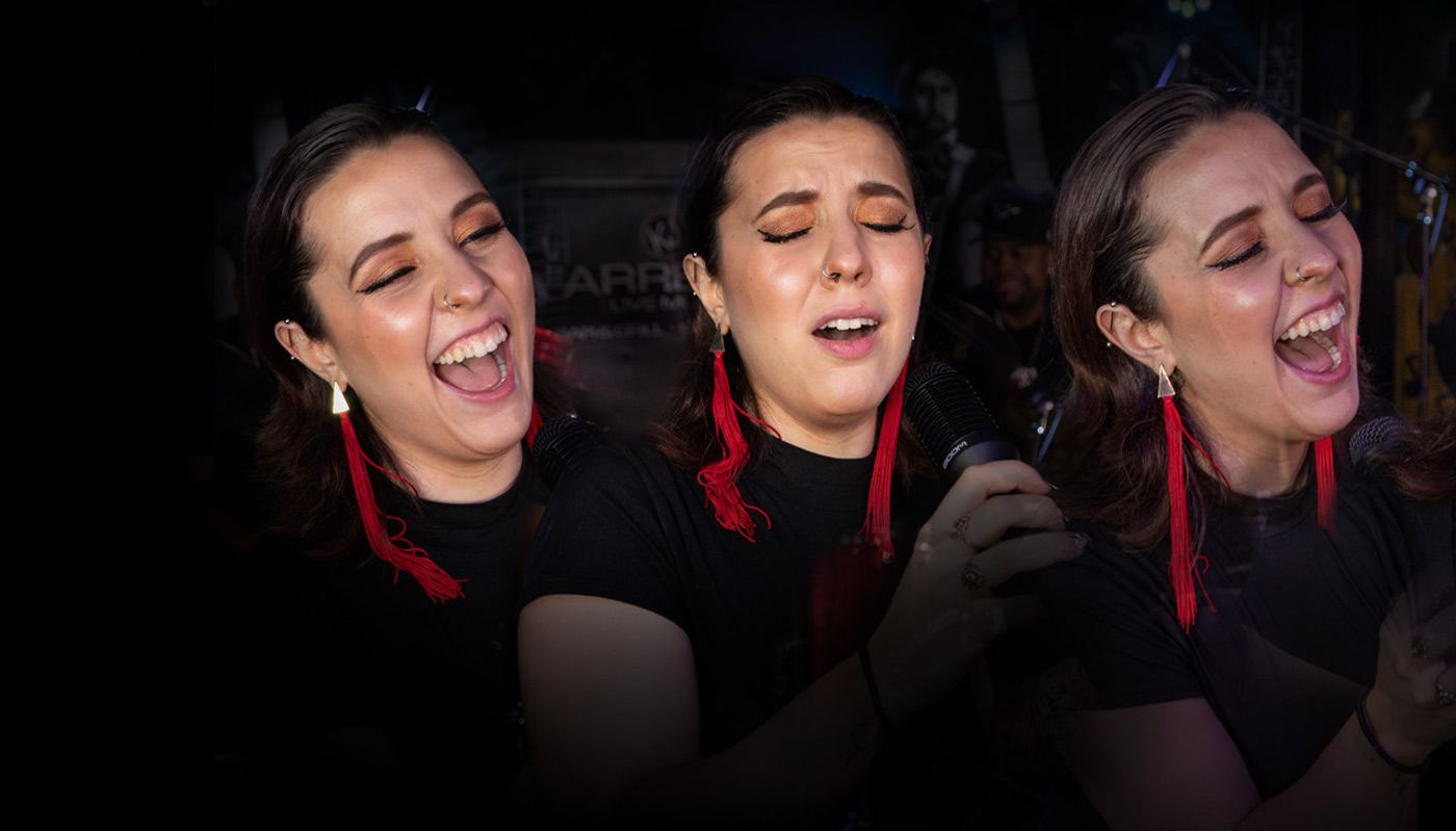 4 portraits of same person singing with different expressions on each face