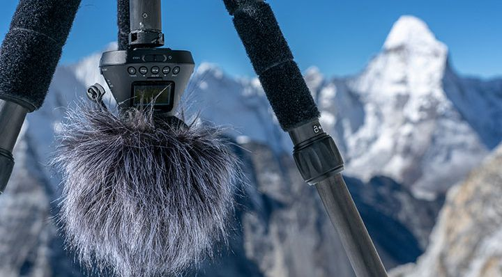 mic with everest in background