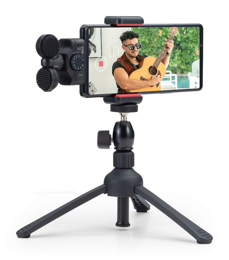 Am7 attached to an Android phone on a tripod