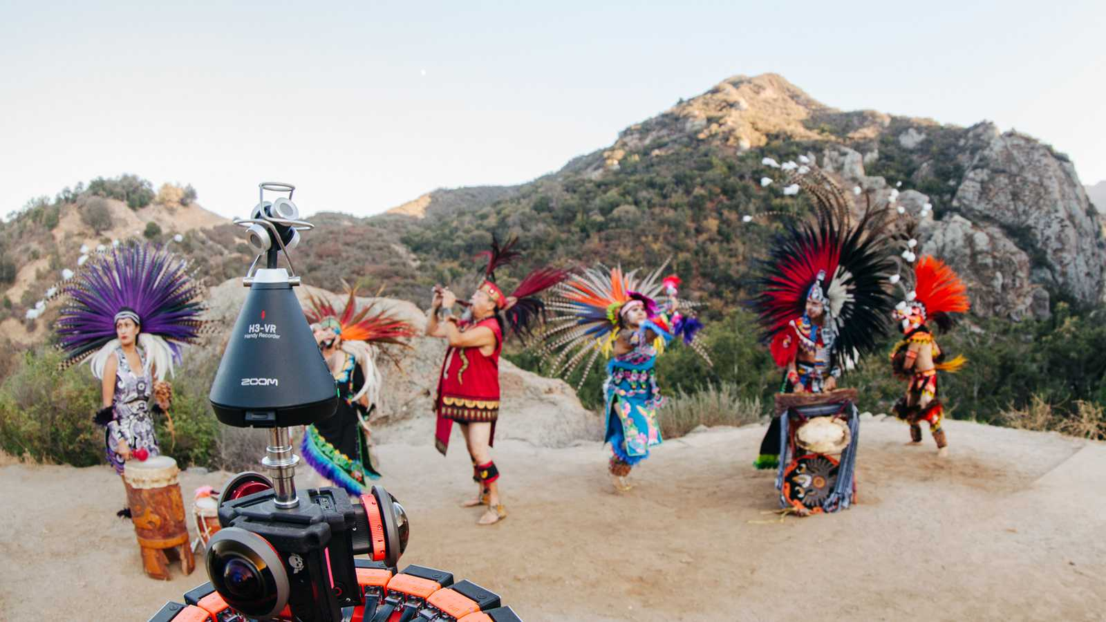 H3-VR capturing the sounds of an Ancient Aztec music and dance troup