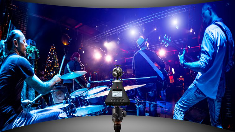 Rock band performing live with H3-VR recording and streaming live sound.