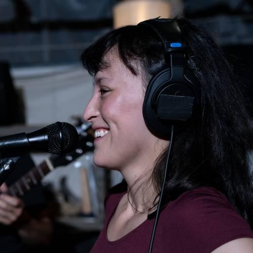 Vocalist with headphones